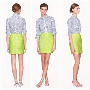 J. Crew Embroidered Floral Mini in Neon Yellow 6